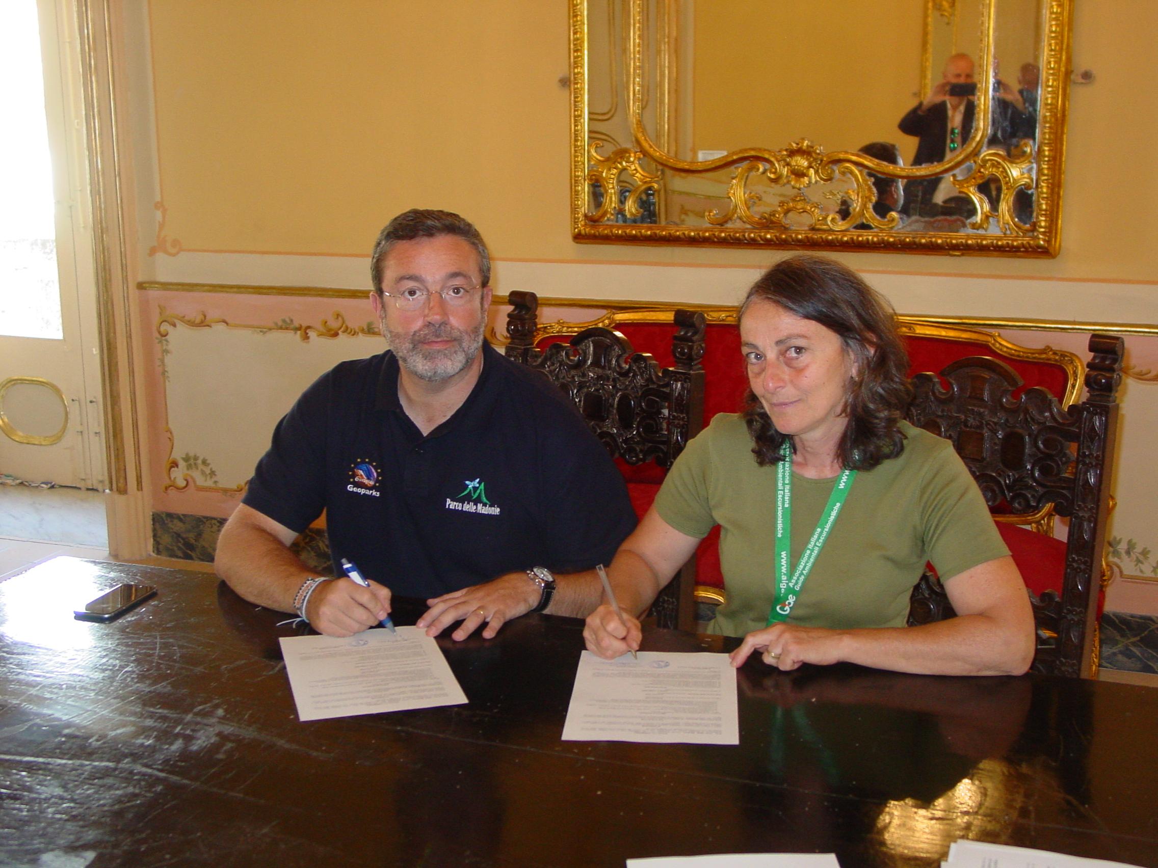 Il presidente del Parco dott. Angelo Pizzuto e Violetta Francese di Aigae