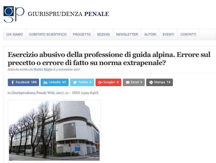 Articolo Giurisprudenza Penale su condanna Belluno